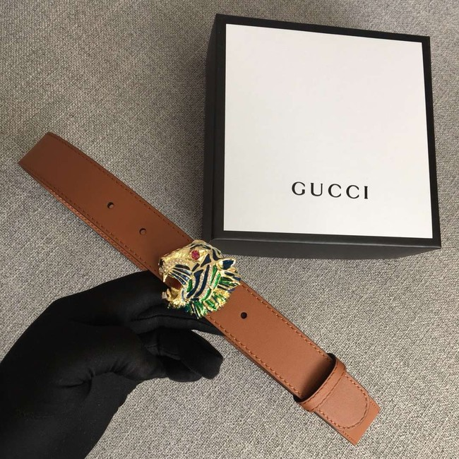 Gucci Leather belt with tiger head 543152 brown