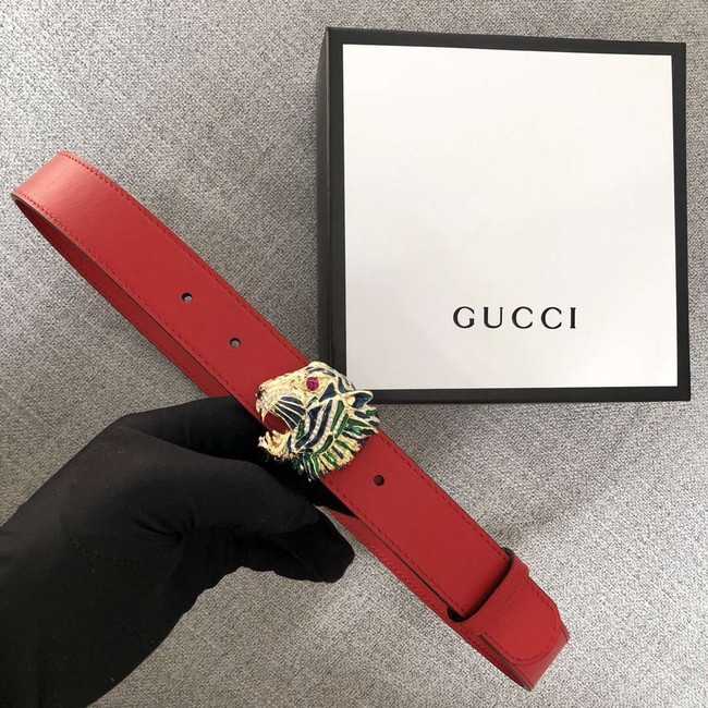 Gucci Leather belt with tiger head 543152 red