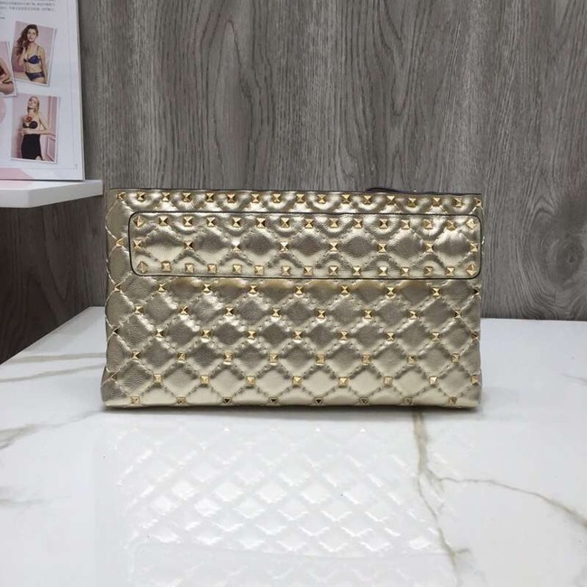 VALENTINO leather clutch 0125 gold