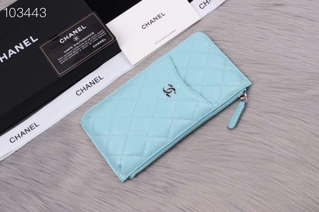 Chanel classic pouch Grained Calfskin& silver-Tone Metal A84402 light green