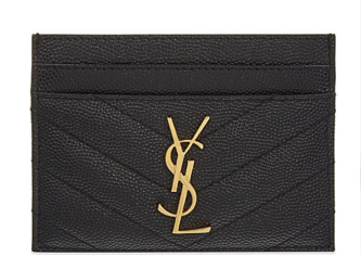 SAINT LAURENT Monogram leather card holder 88337 Gold-Tone Metal Black