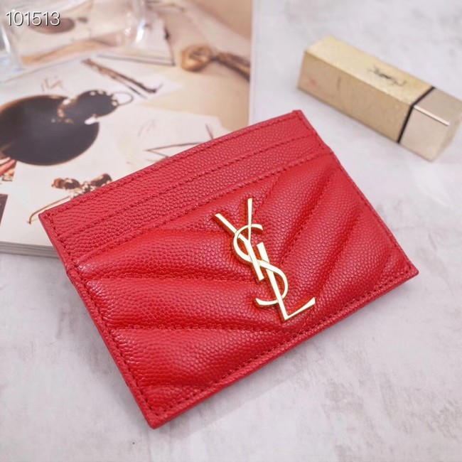 SAINT LAURENT Monogram leather card holder 88337 Gold-Tone Metal red
