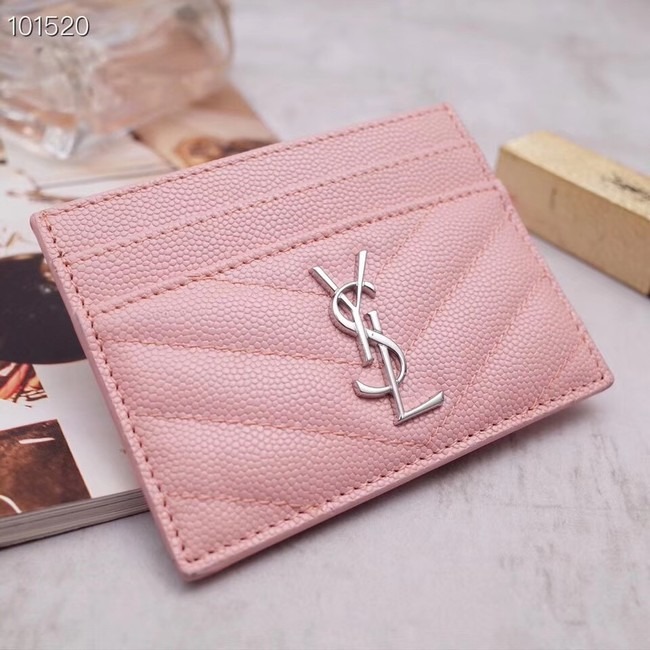 SAINT LAURENT Monogram leather card holder 88337 Rose Ballerine Silver-Tone Metal