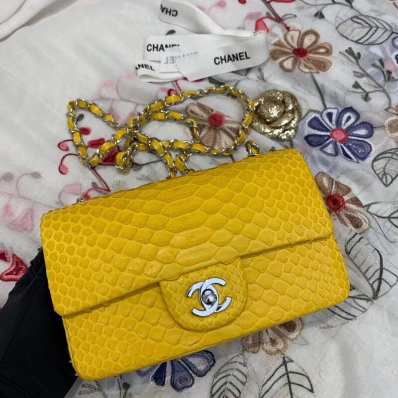 Chanel Mini Flap Bag Original Python & Gold-Tone Metal A69900 Yellow