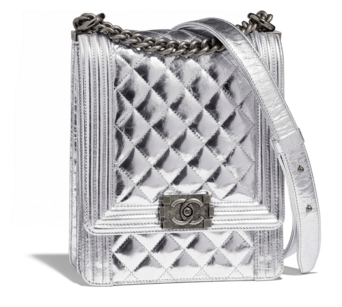 Boy chanel handbag Goatskin & Ruthenium-Finish Metal AS0130 Silver