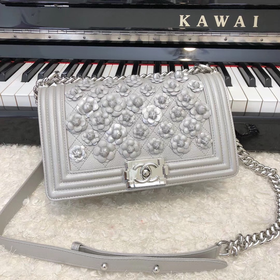Chanel Leboy Original Calfskin leather Shoulder Bag E67086 silver & silver-Tone Metal
