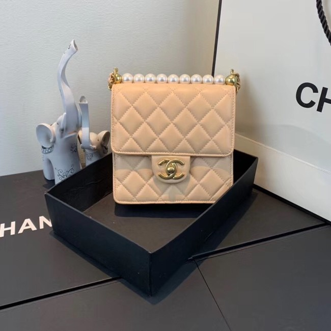 Chanel Flap Shoulder Bag Sheepskin Leather 77398 apricot