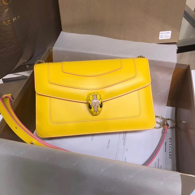 BVLGARI Serpenti Forever metallic-leather shoulder bag 39174 yellow