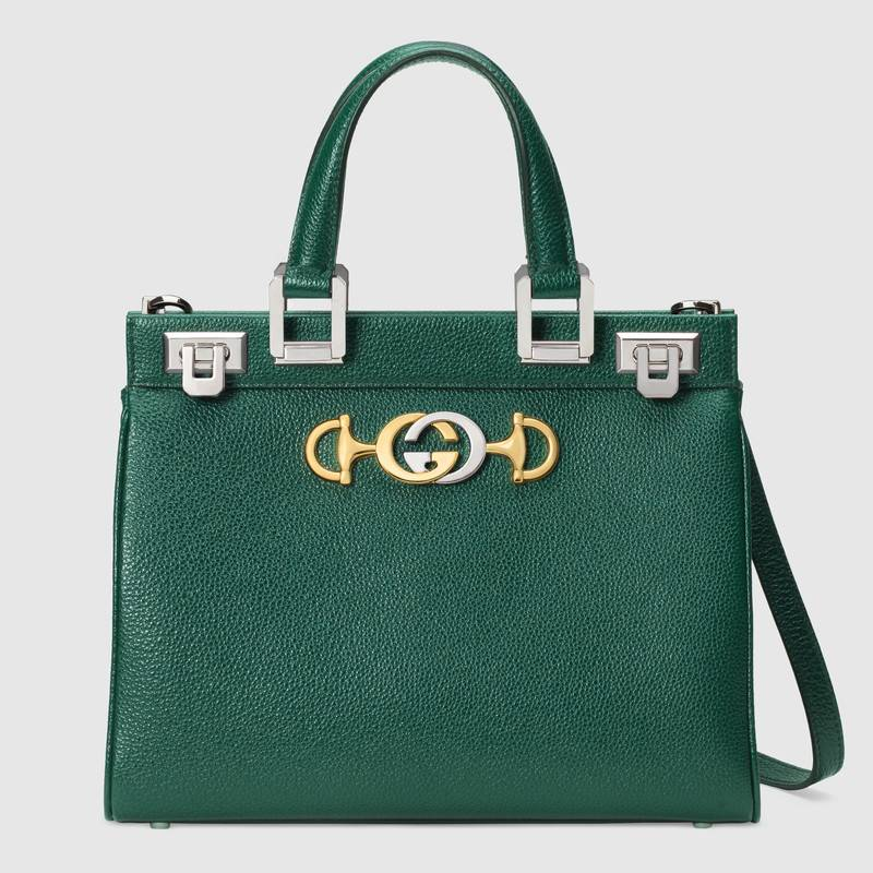 Gucci Zumi grainy leather small top handle bag 569712 Dark green