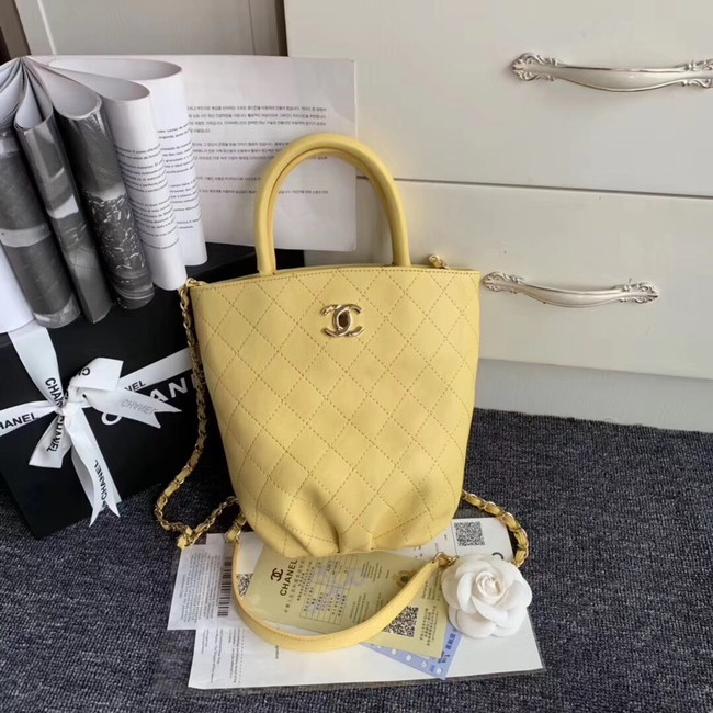 Chanel Calfskin & gold-Tone Metal S0657 yellow