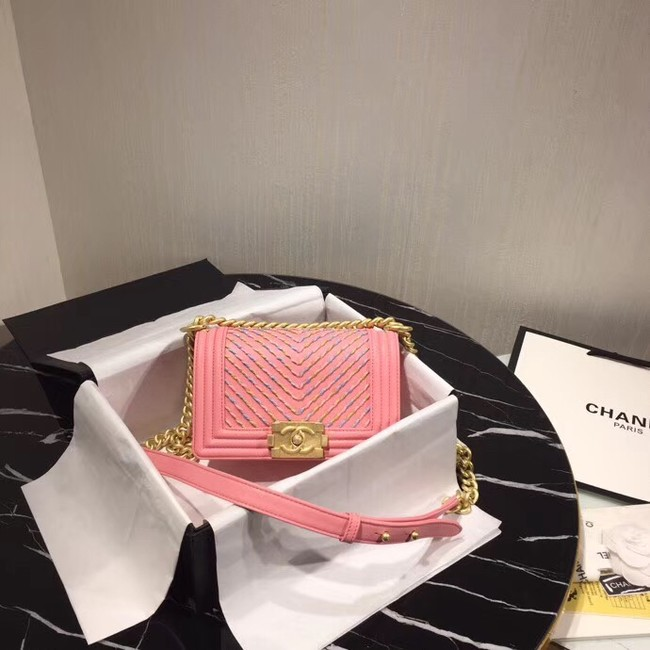 Chanel Leboy Original Calfskin leather Shoulder Bag G67085 pink & gold -Tone Metal