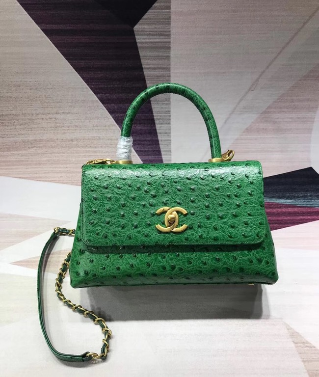 Chanel flap bag with top handle B93737 green