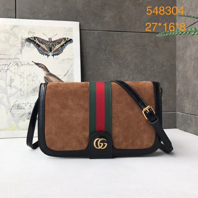 Gucci Ophidia GG Supreme small suede shoulder bag 548304 brown