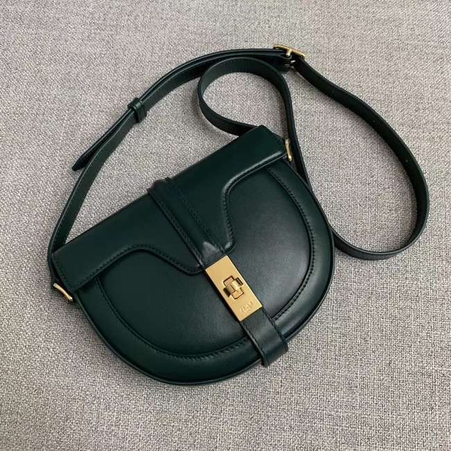 CELINE SMALL BESACE 16 BAG IN SATINATED CALFSKIN CROSS BODY 188013 GREEN
