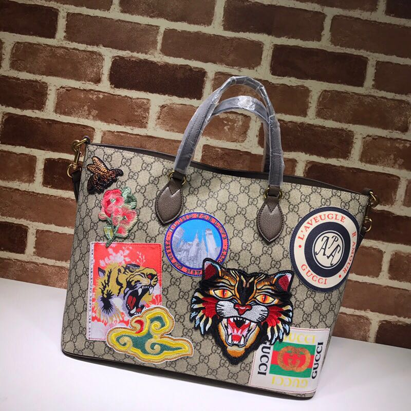 Gucci Canvas Tote Bag 474085 brown