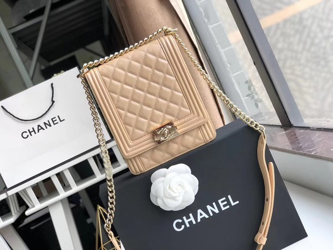 Boy chanel handbag Grained Calfskin & Gold-Tone Metal AS0130 Camel