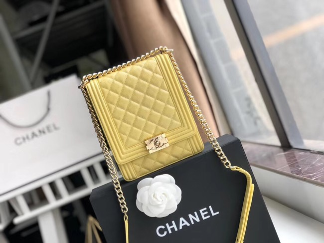 Boy chanel handbag Grained Calfskin & Gold-Tone Metal AS0130 lemon