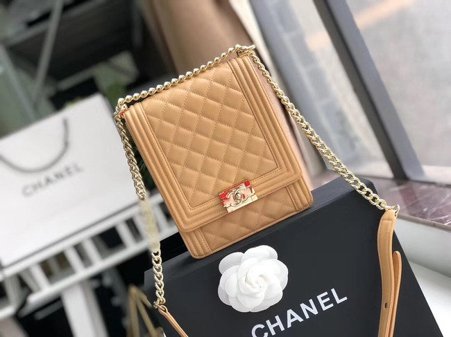 Boy chanel handbag Sheepskin & Gold-Tone Metal AS0130 Camel