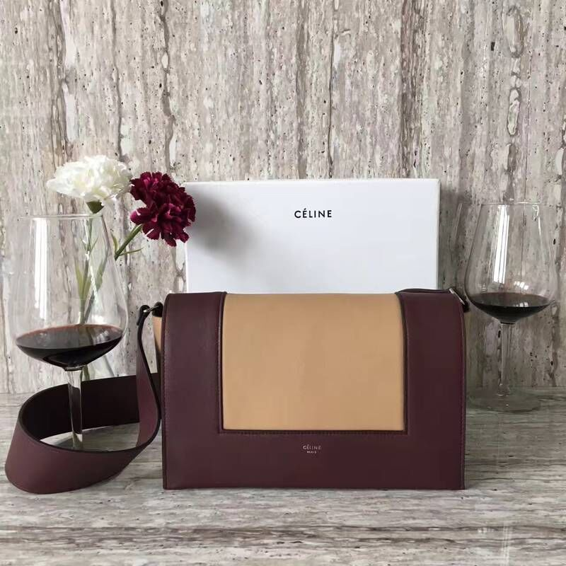 Celine frame Bag Original Calf Leather 5756 Burgundy&apricot
