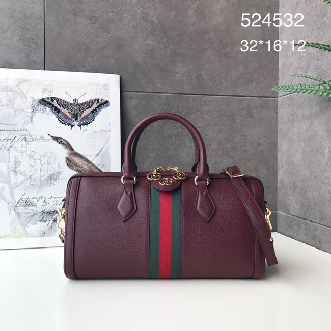Gucci Ophidia medium top handle bag 524532 Burgundy