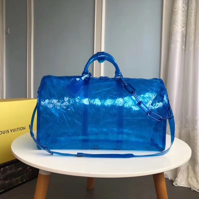 Louis Vuitton KEEPALL 50 Travel Bag with shoulder straps M53271 blue