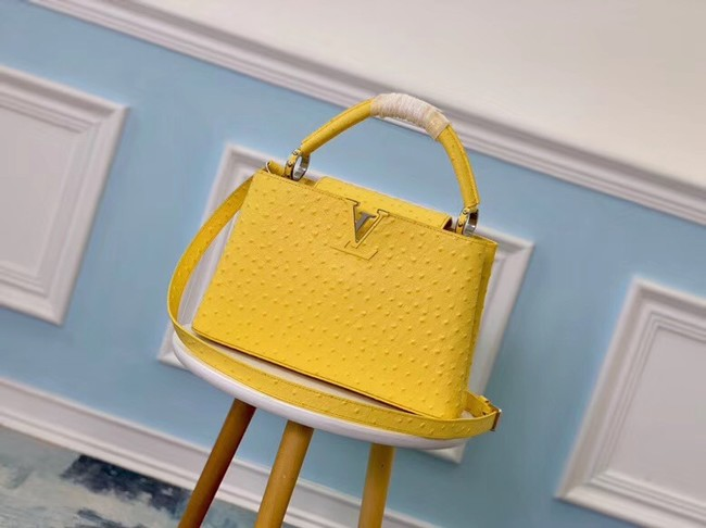 Louis vuitton original Ostrich pattern CAPUCINES PM M53665 yellow