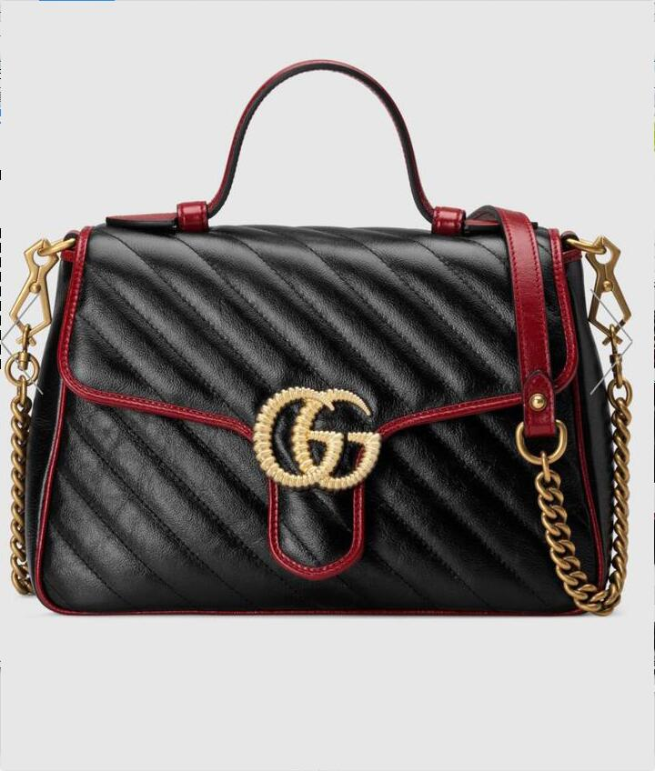 Gucci GG Marmont Mini Top Handle Bag 547260 Black&Wine