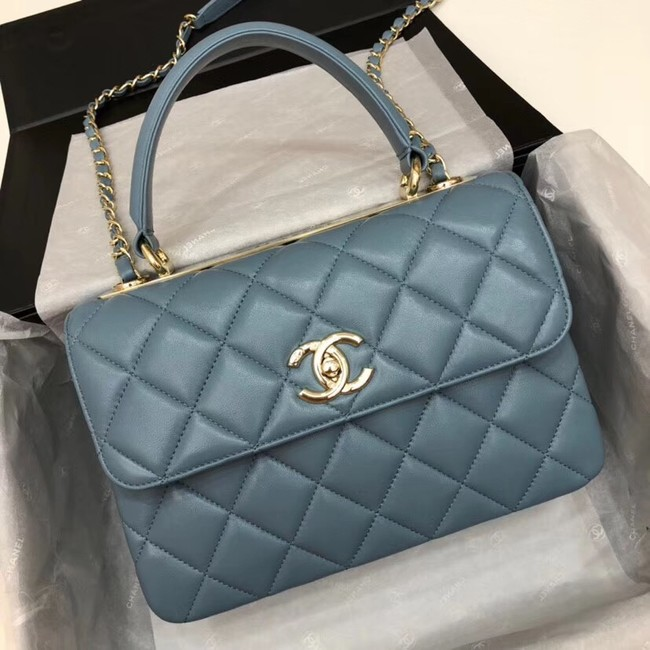Chanel CC original lambskin top handle flap bag 92236 blue&Gold-Tone Metal