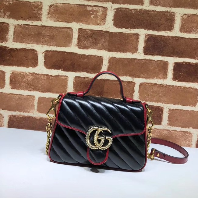 Gucci GG Marmont Mini Top Handle Bag 583571 Black