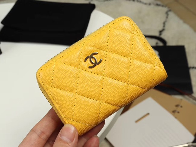 Chanel classic card holder Grained Calfskin & Gold-Tone Metal A69271 yellow