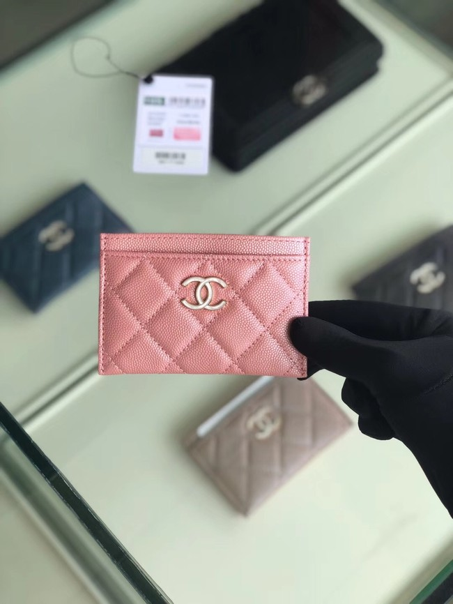 Chanel classic card holder Grained Calfskin & Gold-Tone Metal B31510 Pink