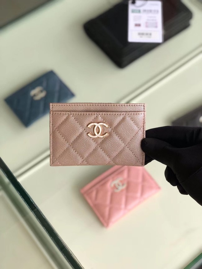 Chanel classic card holder Grained Calfskin & Gold-Tone Metal B31510 light Pink