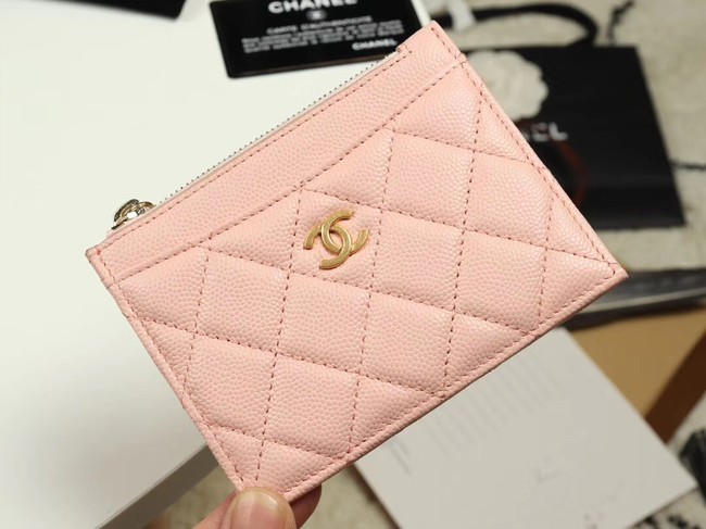 Chanel classic card holder Grained Calfskin & Gold-Tone Metal A84105 pink
