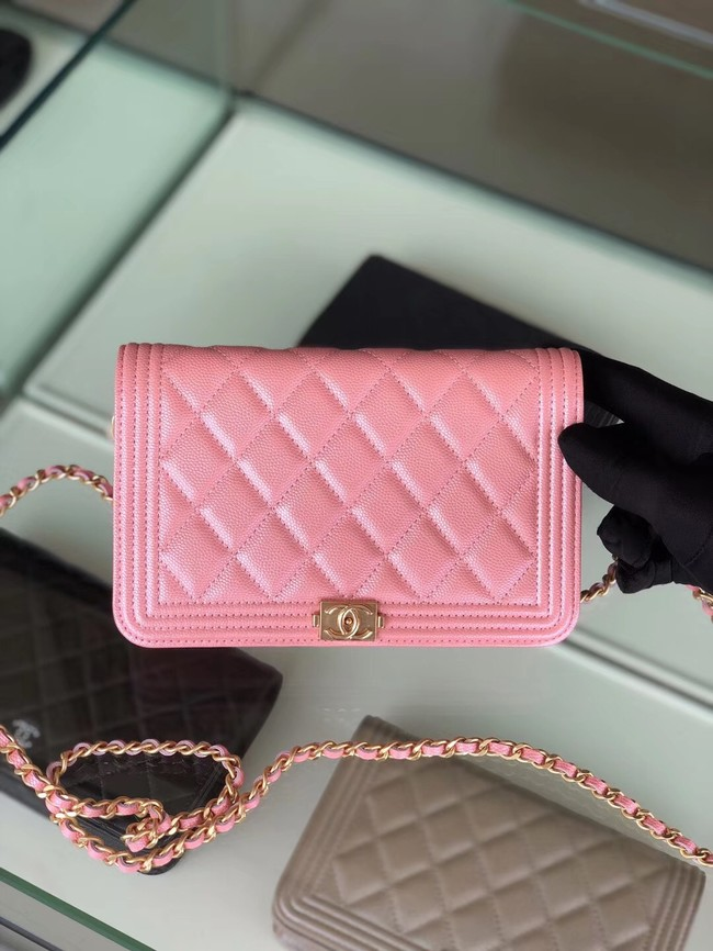BOY CHANEL Original Wallet on Chain & Gold-Tone Metal B80287 Pink