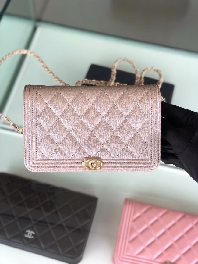 BOY CHANEL Original Wallet on Chain & Gold-Tone Metal B80287 light Pink