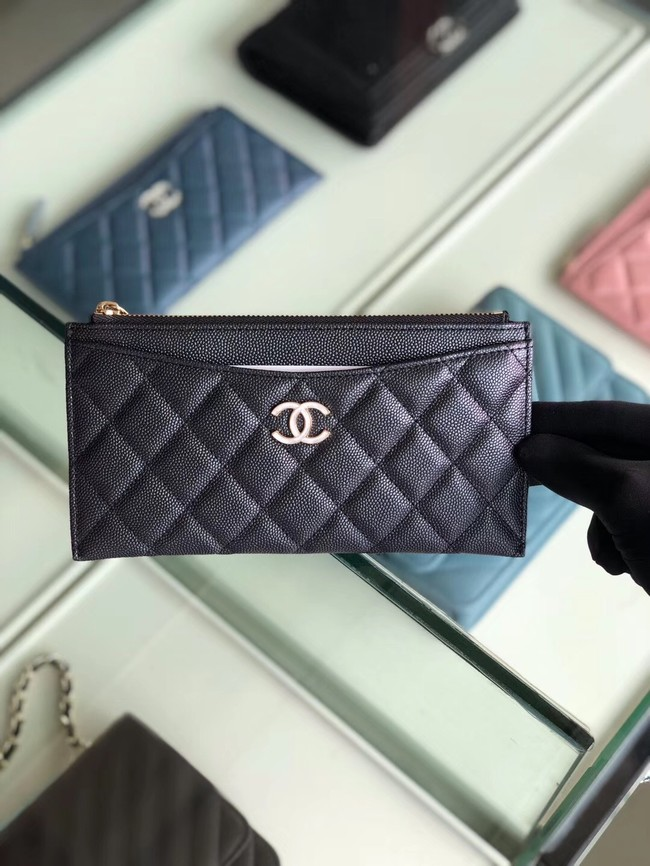Chanel Calfskin Leather & Gold-Tone Metal A84107 black