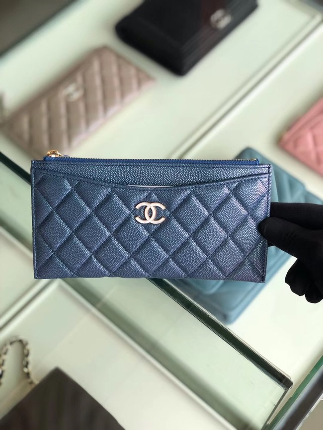 Chanel Calfskin Leather & Gold-Tone Metal A84107 blue