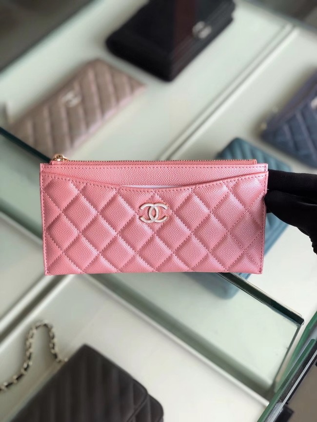 Chanel Calfskin Leather & Gold-Tone Metal A84107 pink
