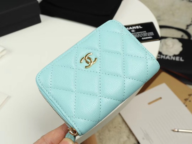 Chanel classic card holder Grained Calfskin & Gold-Tone Metal A69271 sky Blue