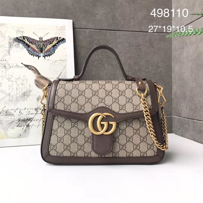 Gucci GG Marmont small top handle bag 498110 brown