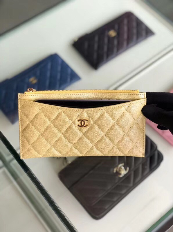 Chanel Calfskin Leather & Gold-Tone Metal A84107 gold