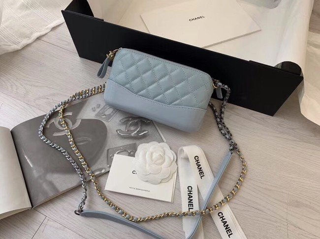 Chanel mini Shoulder Bag Leather B93825 light blue