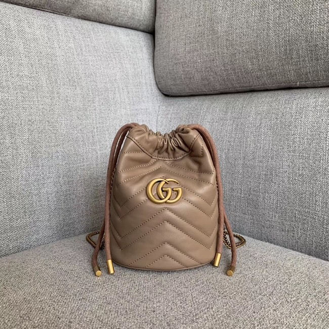 Gucci GG Marmont mini bucket bag 575163 apricot