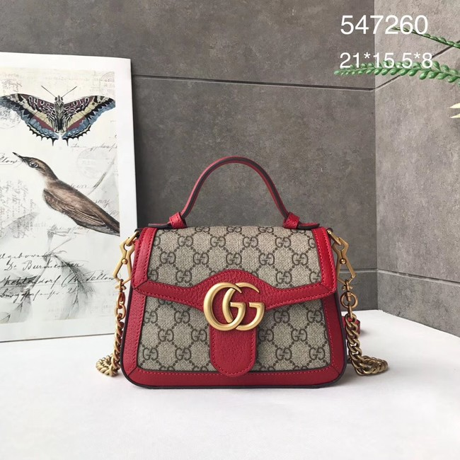 Gucci GG Marmont mini top handle bag 547260 red