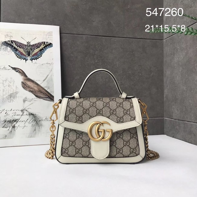 Gucci GG Marmont mini top handle bag 547260 white