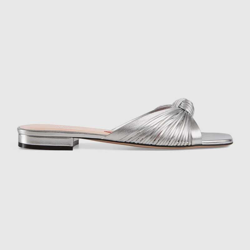 Gucci Metallic leather slide sandal GG1511BL-1