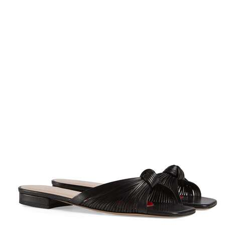 Gucci Metallic leather slide sandal GG1511BL-2