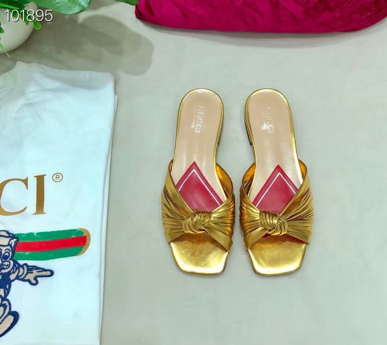 Gucci Metallic leather slide sandal GG1511BL-3