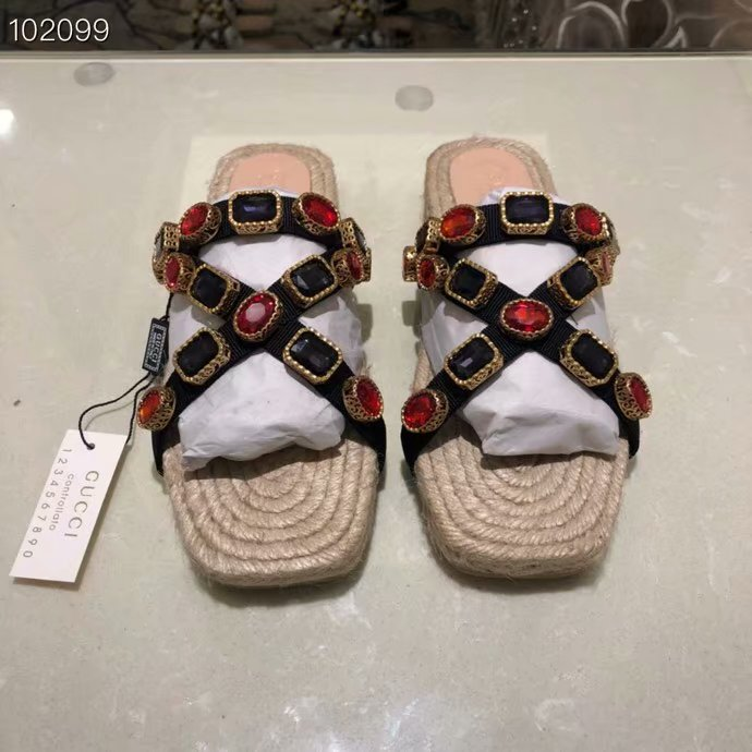 Gucci lady slippers Grosgrain espadrille sandal with crystals GG1509MHC-1