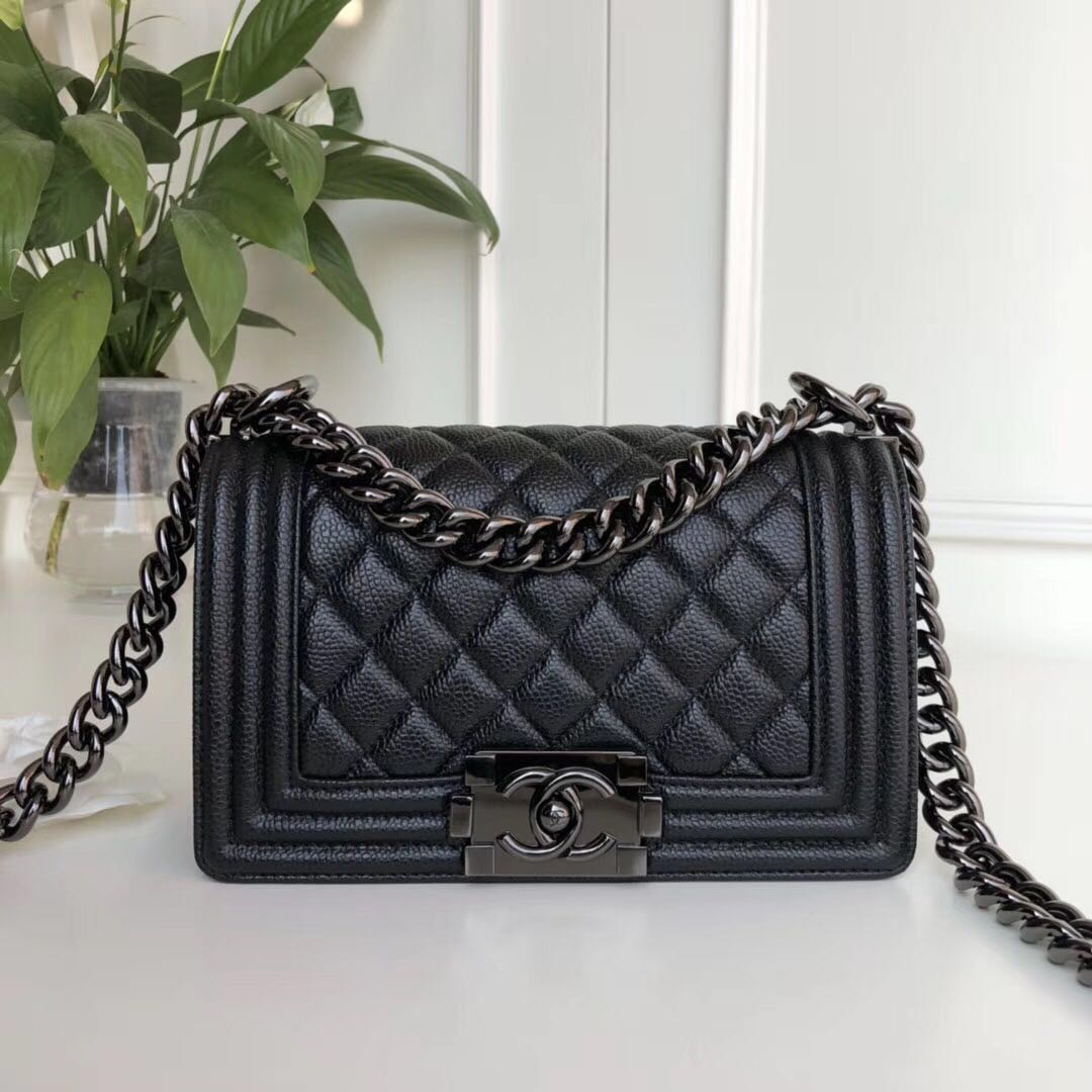 Boy Chanel Flap Shoulder Bag Leather A67085 black